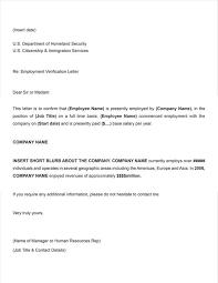 Letter Employment Verification Template Printable Sample Letter Of