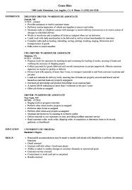 Warehouse Resume Sample Driver Warehouse Associate Resume Samples