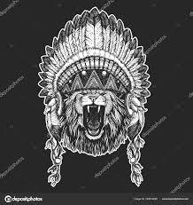Divoké Zvíře Cool Zvíře Nosí Indiánské Indické čelenka S Peřím Boho