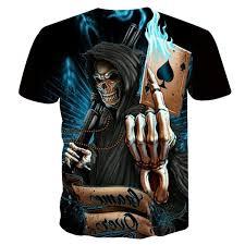 2019 <b>NEW 3d Skull Poker</b> Funny T Shirts Men HOT Brand Mens ...