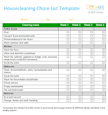 House Cleaning Chore List Template Weekly Dotxes 11 Sample Weekly ...