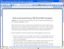 Micorsoft Office Word How To Password Protect Ms Word 2003 Document