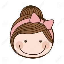 収集した髪とピンクの弓レース ベクトル イラストでカラフルな似顔絵正面