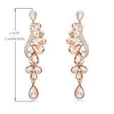 gold color crystal wedding long earrings fl shape chandelier earrings brides bridesmaid luxury jewelry
