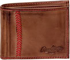 rawlings mens tanned leather baseball stitch embroidered wallet dark brown