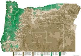 Elevation Chart Us Oregon Physical Map And Oregon Topographic Map