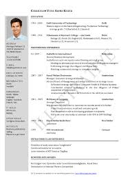 Endearing Indian Resume Samples In Word Format For Your Free