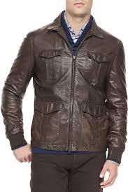 field jackets brunello cucinelli 4 pocket leather jacket brown