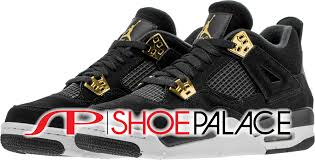 jordan shoes retro 4. air jordan retro 4 royalty mid grade school lifestyle shoe (black/gold/white) shoes e