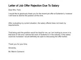 Best Solutions of Sample Job fer Rejection Letter Due To Salary Letter