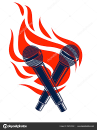 Rap R B Charts Two Microphones Crossed On Fire Hot Mic In Flames Rap
