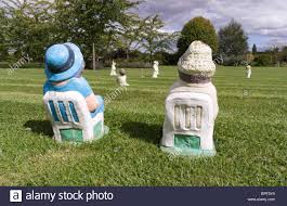 garden figures. Garden Ornaments - Miniature Cricket Match With Gnome Type Pottery Figures Watching Players On Lawn Of Clow Beck House G