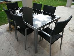 Outdoor Furniture Table 6 Chairs Aluminium Frame With Black Glass