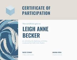 Customize 102 Participation Certificates Templates Online