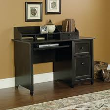 pine wood computer desk in black finished having open shelves and drawers also short legs placed astounding small black computer