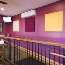 blue mountain brewery installed a series of fabric wrapped acoustical panels to create a comfortably sounding