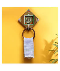 exclusivelane hand painted dhokra towel holder wooden towel ring at low in india snapdeal