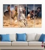 Buy <b>Brown</b> Wood Multiple Frames Beautiful Running <b>Horses</b> Vastu ...
