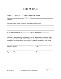 Bill Of Sale Form Template