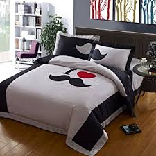 Diaidi,Grey Mustache Bedding Set,Cute Beard Bedding Set,Queen Size Bed Sets