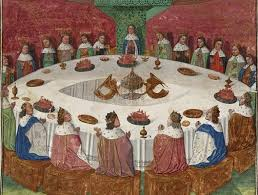 king arthur and his knights of the round table see a vision of the holy grail