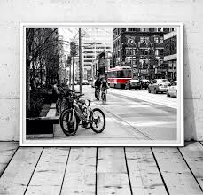 Toronto Print Toronto Photography Black White Wall Art Red