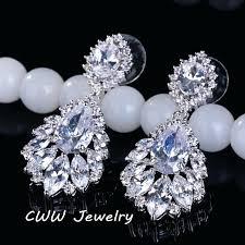 chandelier diamond earrings elegant chandelier cubic long big crystal bridal dangle drop earring for wedding jewelry chandelier diamond earrings