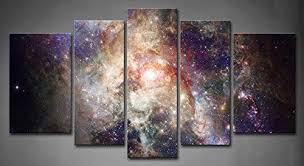 5 Panel Wall Art Star Field in Space and A Nebulae ... - Amazon.com