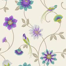 Purple Flower Wallpaper For Bedroom Fine Decor Eden Bird Wallpaper Cream Purple Teal Green