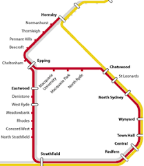north shore, northern & western line wikipedia Northern Train Line Map diagram of the northern line (in red) and north shore and western lines (yellow) between 2009 and 2013 northern train line map