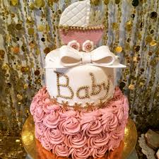1/14; Pink and Gold Baby Shower Cake