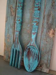 large wooden spoon and fork wall decor turquoise in kitchen oversized knife turquoi