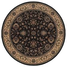 round oriental area rug in black 6 ft dia traditional area rugs by ladder