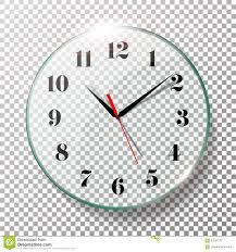 office clock wall. Realistic Wall Clocks Set Vector Illustration. Office Clock With Black And Red Hands Isolated On Transparent Background. Real E