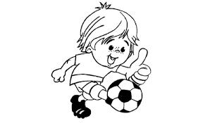 Bimbo Che Gioca A Calcio Col Pollice Allinsu Disegno Da Colorare