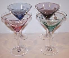 set of 4 marquis by waterford crystal polka dot multi colored martini glasses