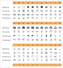 Microsoft Word Wingdings Chart Free 6 Wingdings Chart Templates In Pdf