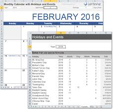monthly calendar excel monthly calendar with holidays for excel