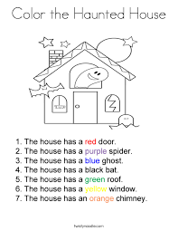 Small Picture Color the Haunted House Coloring Page Twisty Noodle