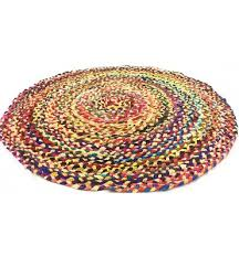 fair trade round 90cm multi coloured mat recycled braided chindi rag rug brown zizuvuthg