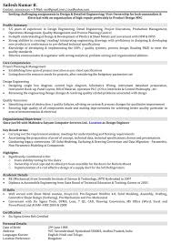 Resume Format For Mechanical Engineer With 1 Year Experience It