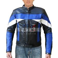blue white custom design leather jacket