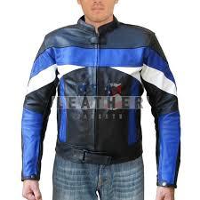 blue white custom design leather jacket