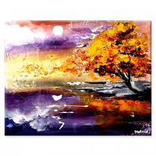 touching sunrise acrylic abstract painting of beautiful sunrise and golden tree by peter dranitsin