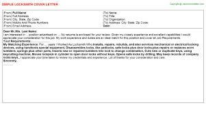 locksmith resume cover letter