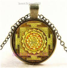 details about vintage gold sri yantra photo cabochon glass bronze chain pendant necklace