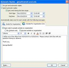 Automatic Respond Setting Up Out Of Office Messages In Outlook 2010