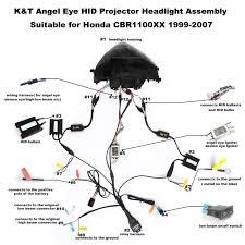 honda cbr1100xx angel eye hid light custom headlight assembly 1999 honda cbr1000xx hid led projector headlight assembly 1999 2007