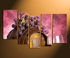 5 piece wall art home decor wine multi panel art kitchen canvas print on wine barrels multi panel canvas wall art with 5 piece art red wall decor barrel artwork grapes huge canvas
