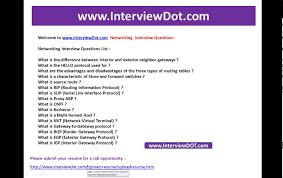 Networking Interview Questions List Interviewdot Job Portal Post